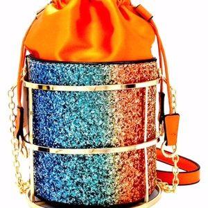 Handbags - Drawstring Glitter Bucket Bag
